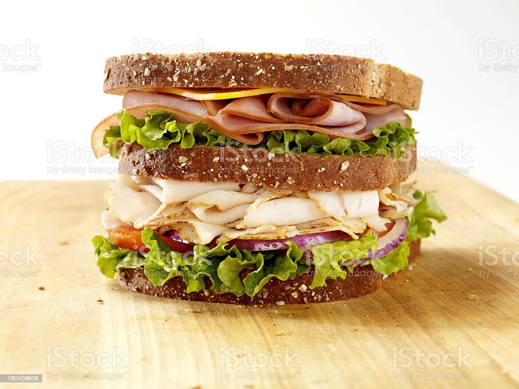 Turkey and Ham Sandwich stock photo