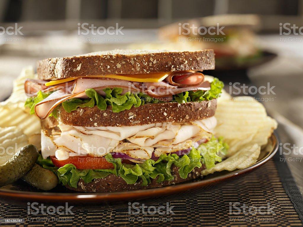Turkey and Ham Sandwich stock photo