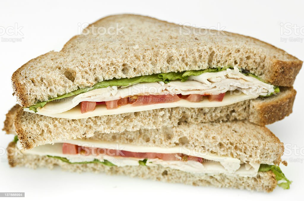 Turkey and Swiss Cheese Sandwich royalty-free stock photo
