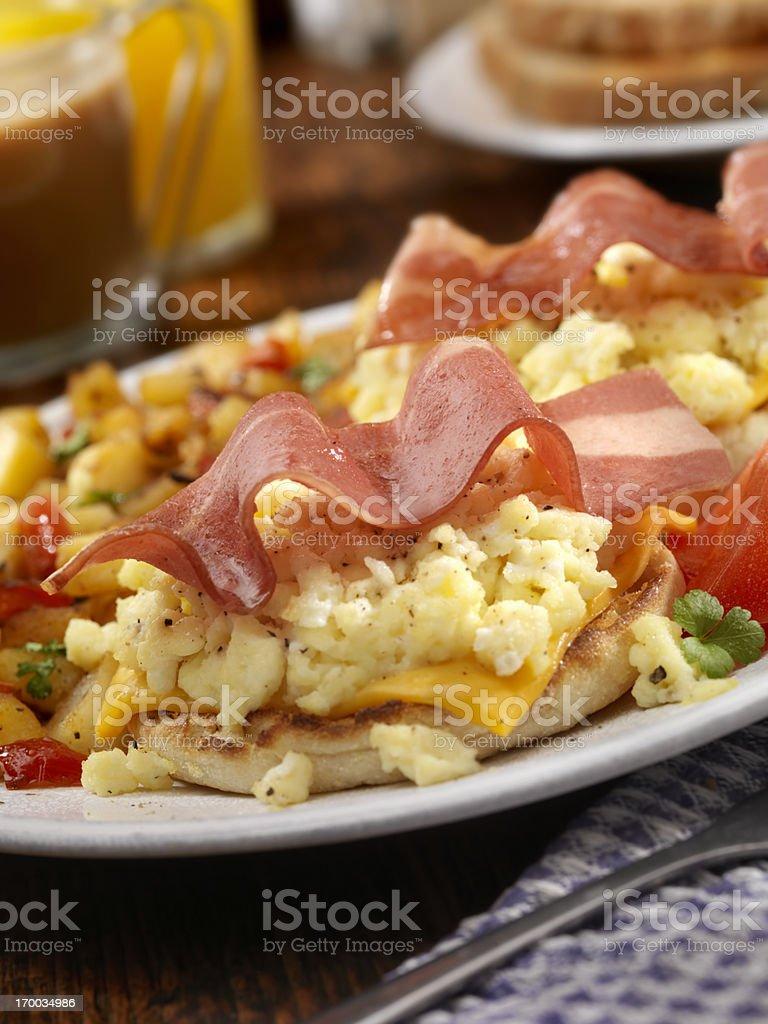 Turkey Bacon and Egg Breakfast Sandwich royalty-free stock photo
