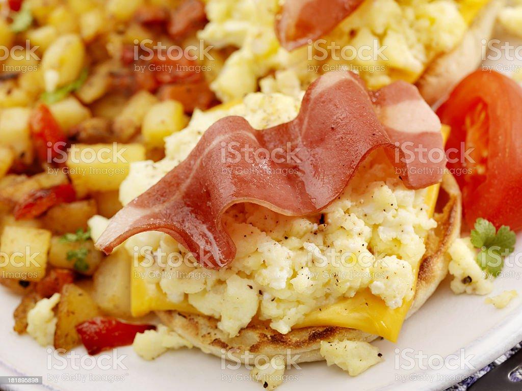 Turkey Bacon and Egg Breakfast Sandwich stock photo