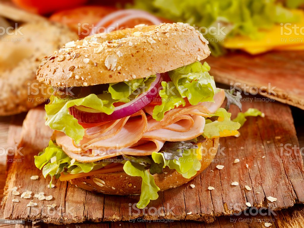 Turkey Bagel Sandwich stock photo