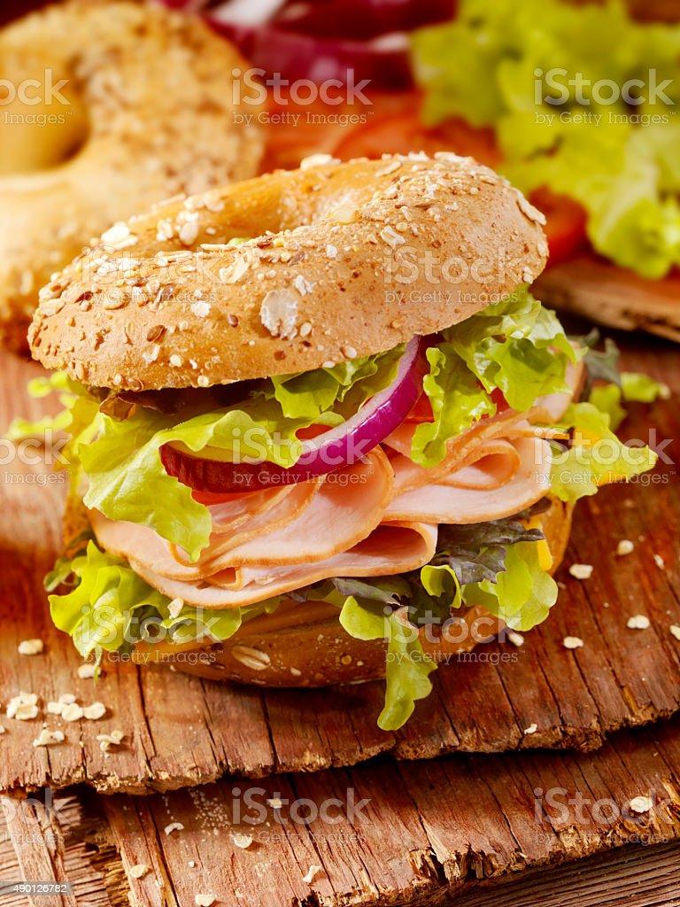 Turkey Bagel Sandwich stock photo