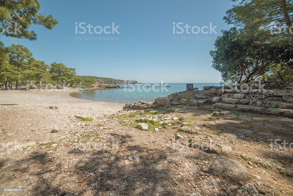 Turkey: beach next to ancient city of Phaselis stock photo