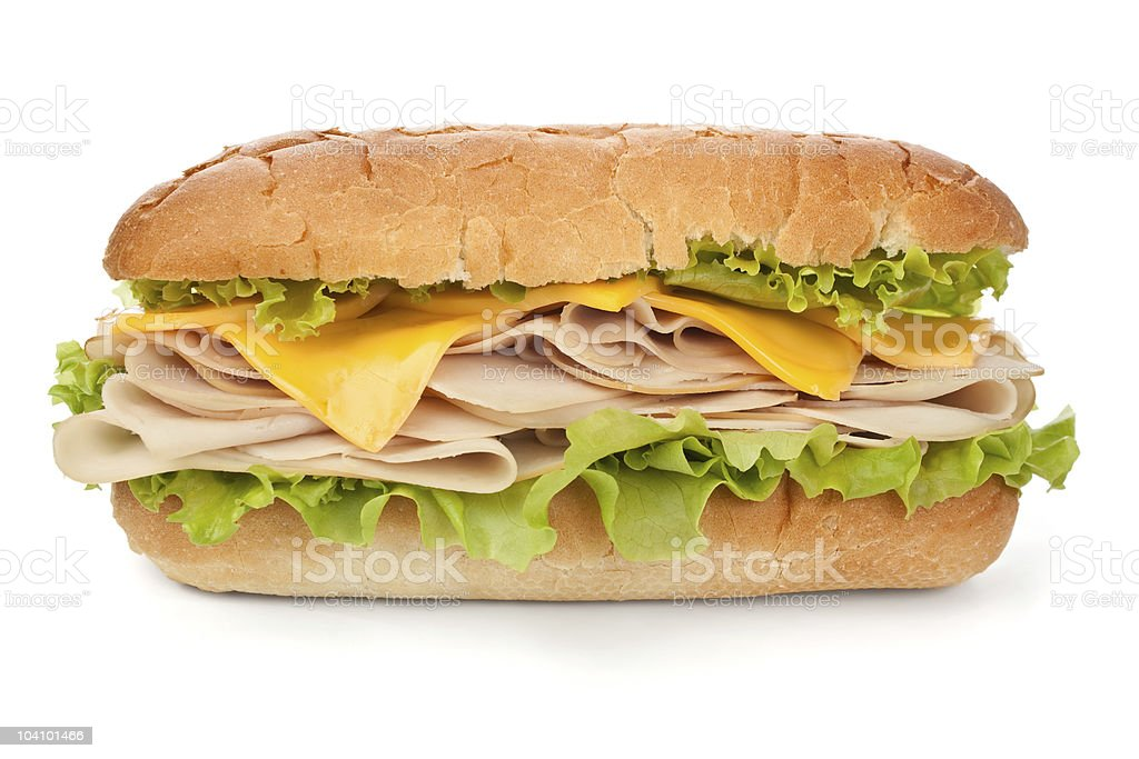 turkey ( chicken ) breast, cheese and lettuce sandwich stock photo