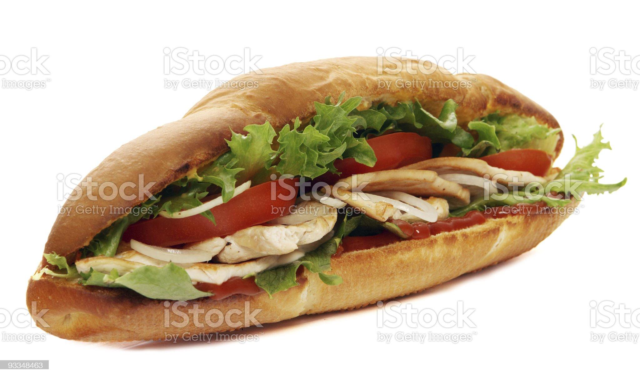 turkey breast sub sandwich royalty-free stock photo