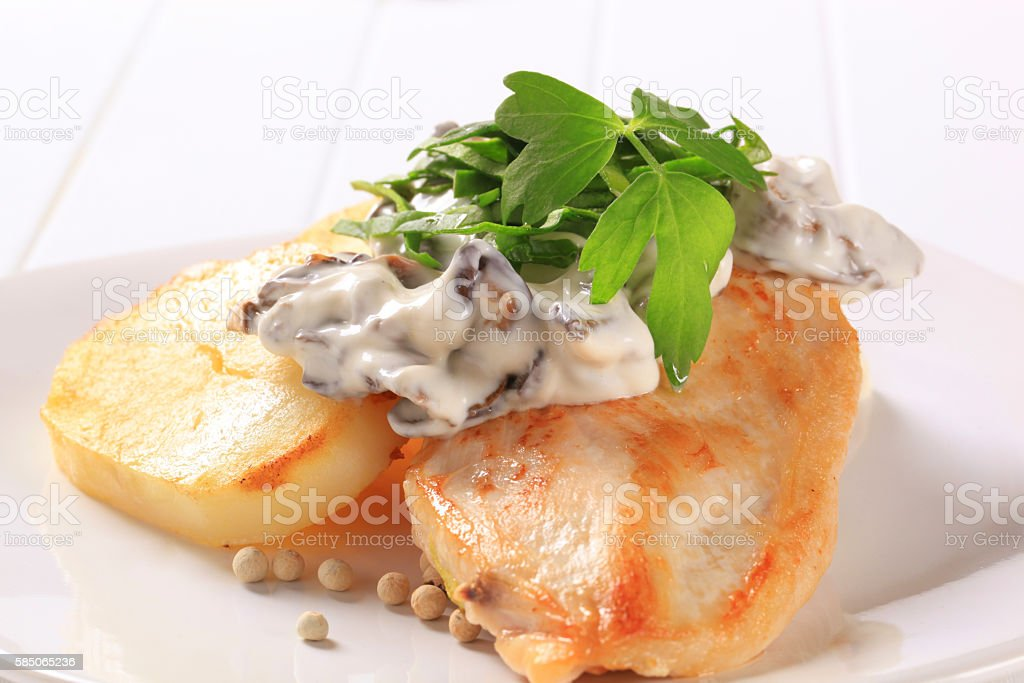 turkey breasts and potato stock photo