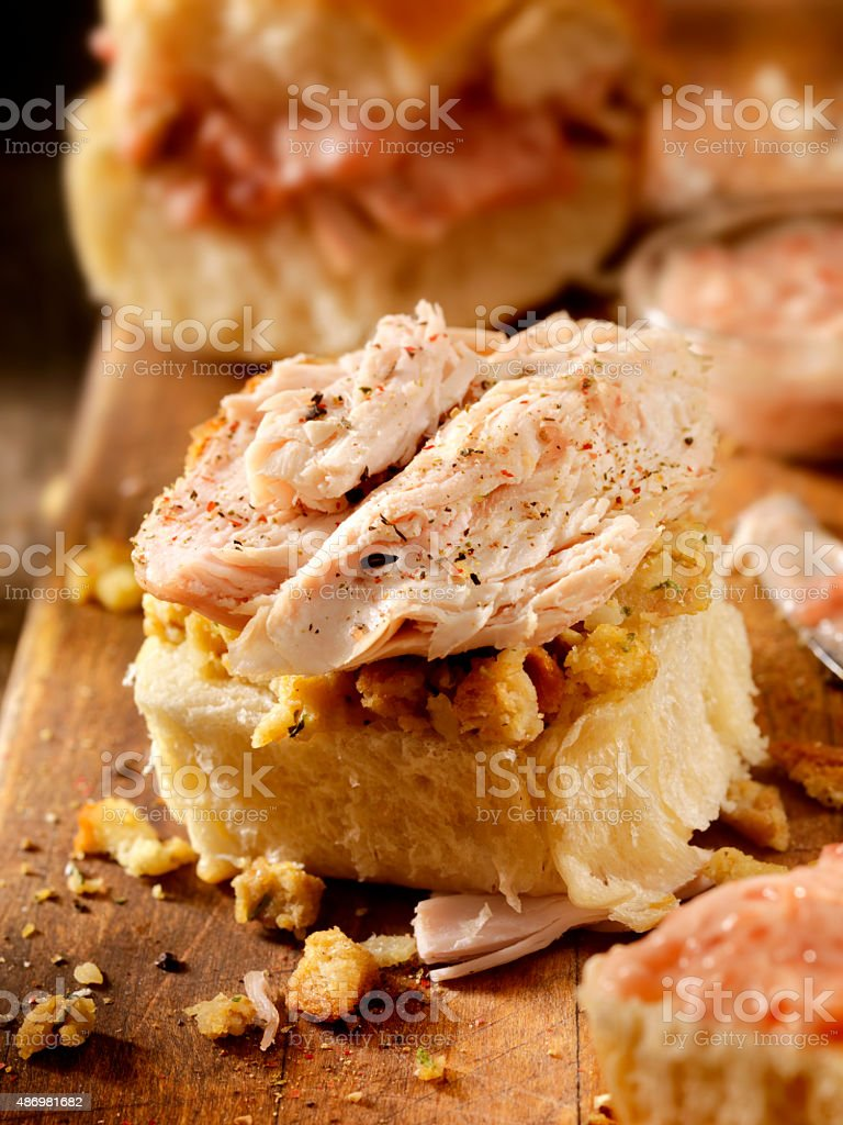 Turkey Buns with Stuffing and Cranberries stock photo