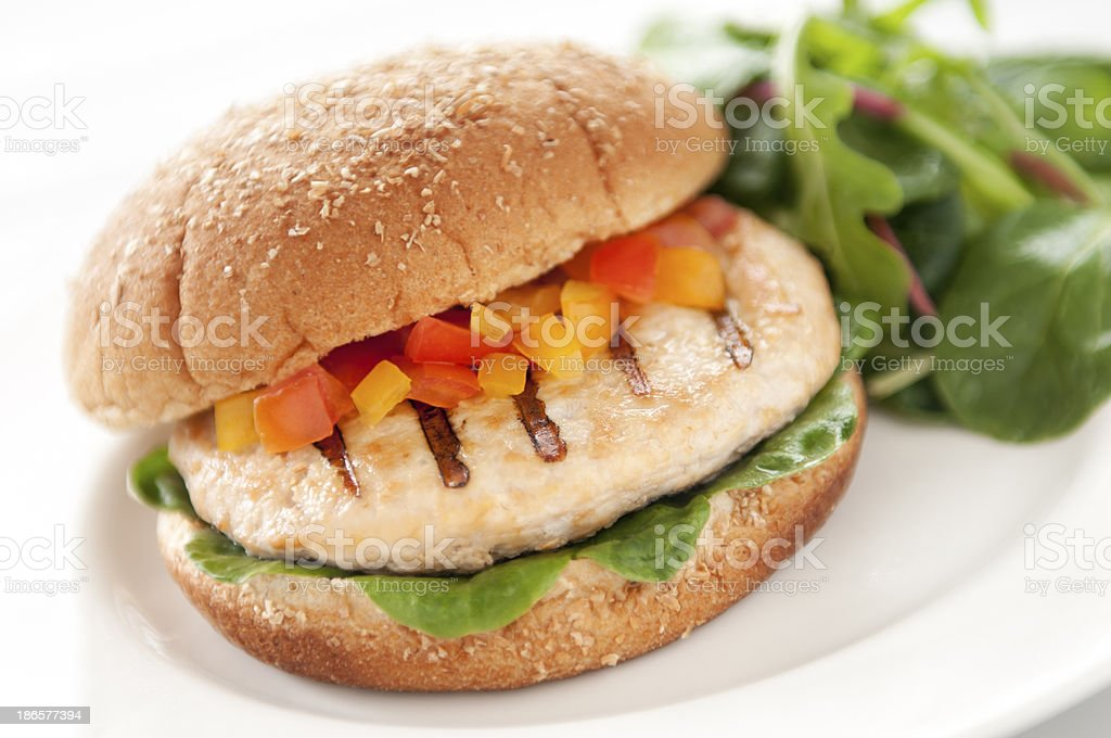 Turkey Burger and Salad stock photo