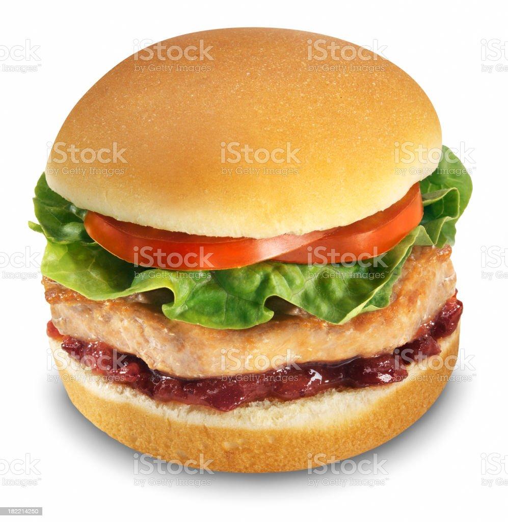 Turkey Burger, white background stock photo