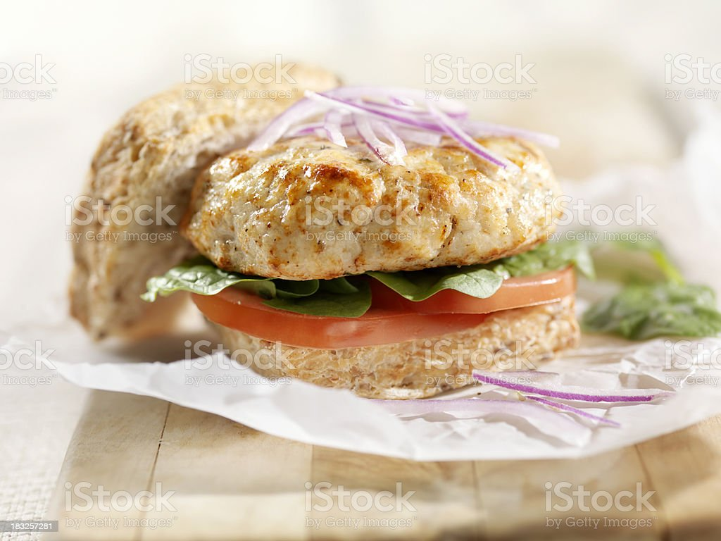 Turkey Burger with Lettuce and Tomato stock photo