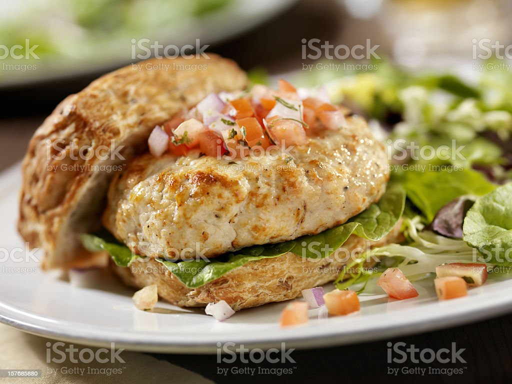 Turkey Burger with Spinach and Salsa stock photo