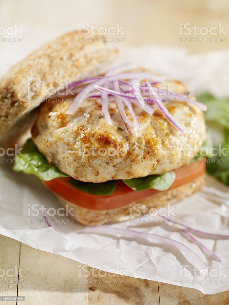 Turkey Burger with Spinach and Tomato stock photo