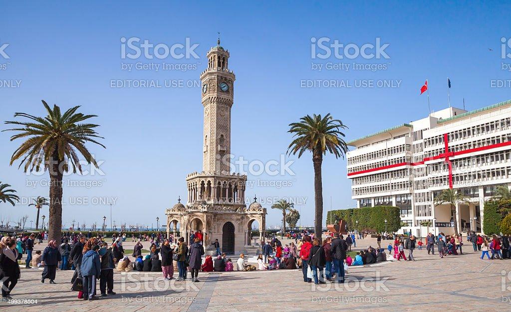 Turkey, clock tower, symbol of Izmir City stock photo