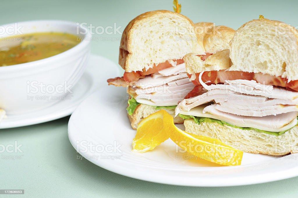 Turkey Club Croissant & Soup royalty-free stock photo