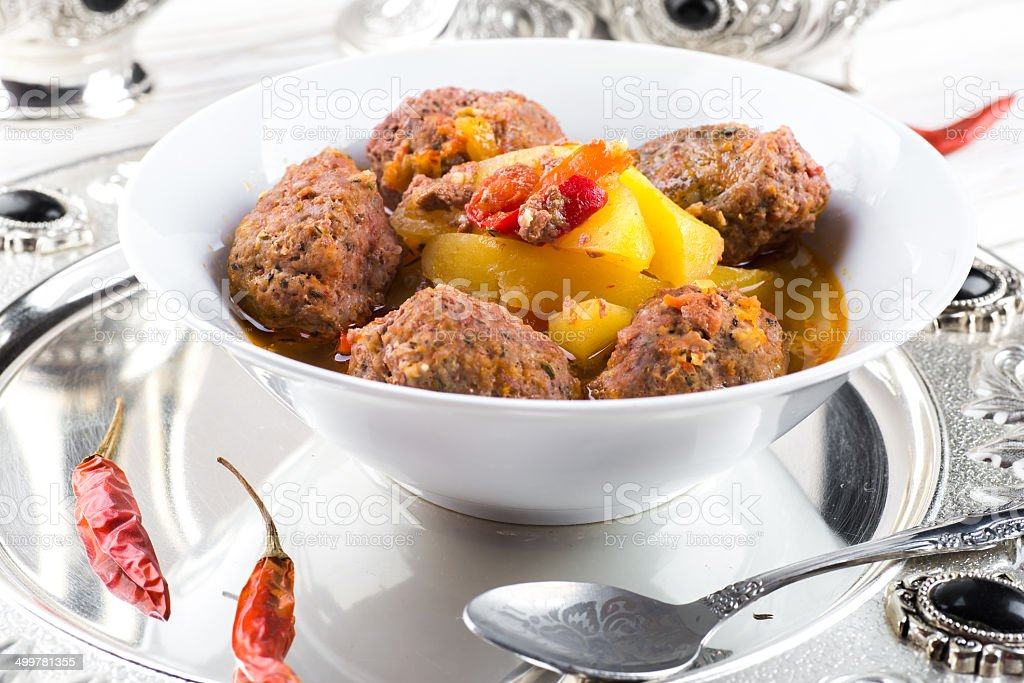 Turkey cutlets with pepper pot stock photo