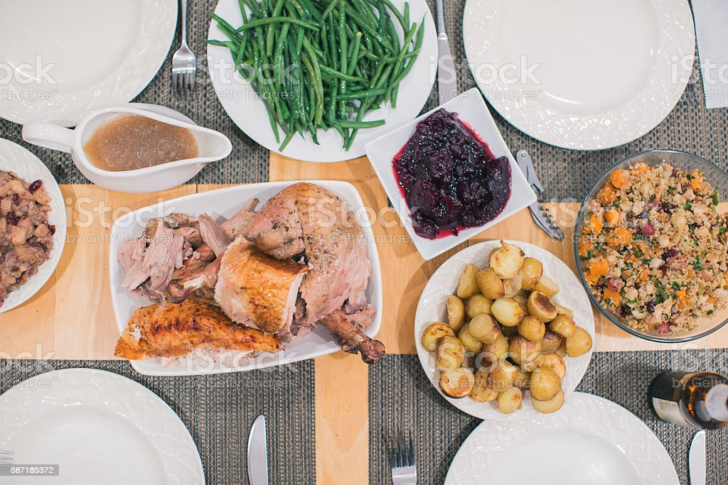 Turkey Dinner Overhead stock photo