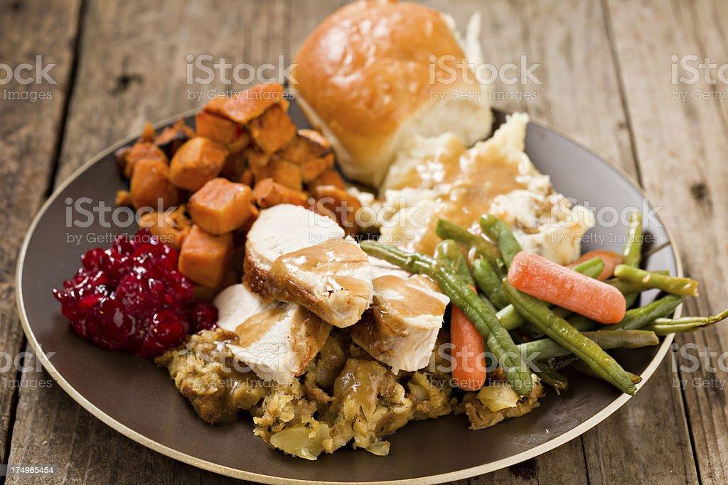 Turkey Dinner Plate. stock photo