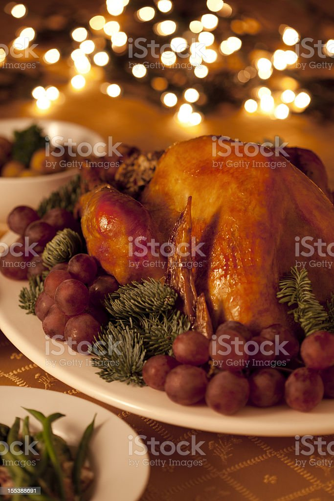 Turkey dinner served with various appetizers stock photo