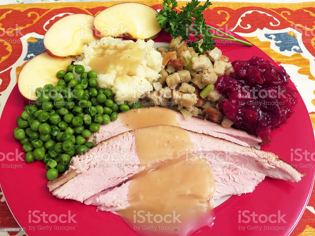 Turkey Dinner With Many Trimmings stock photo