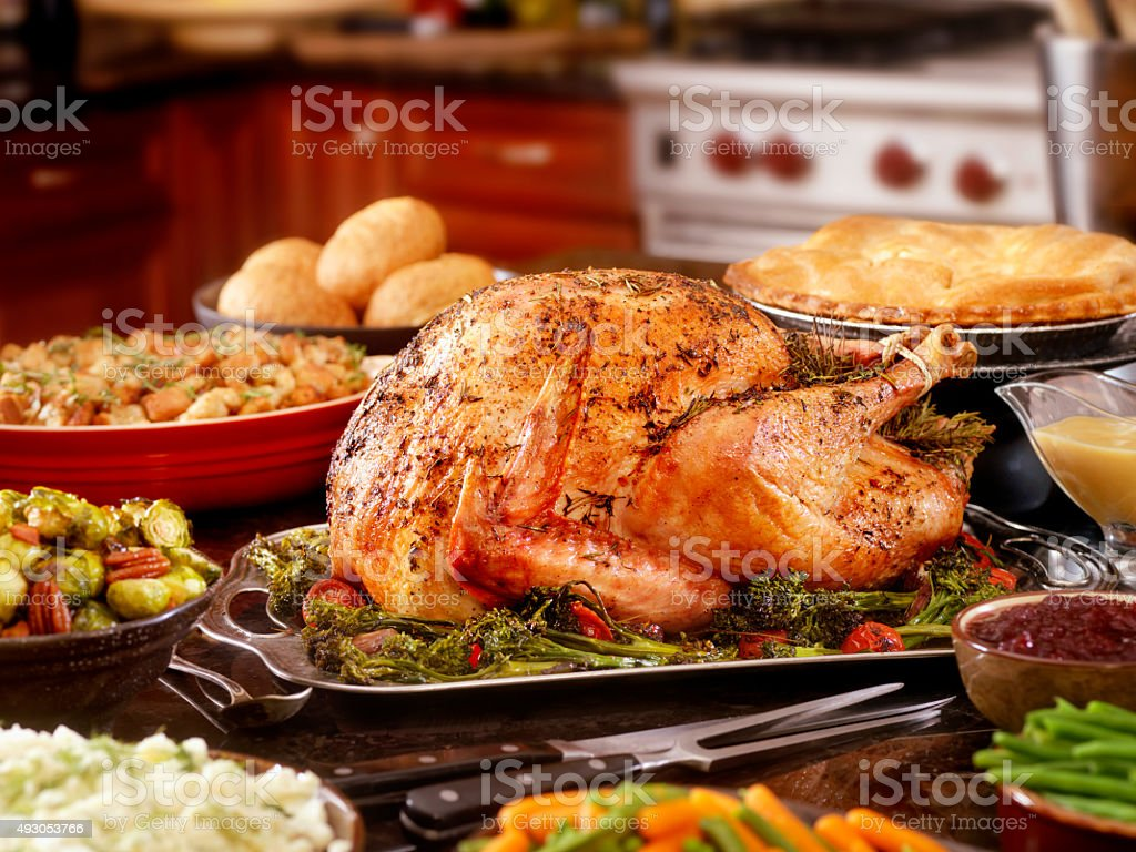 Turkey Dinner with Stuffing and All the Fixings stock photo