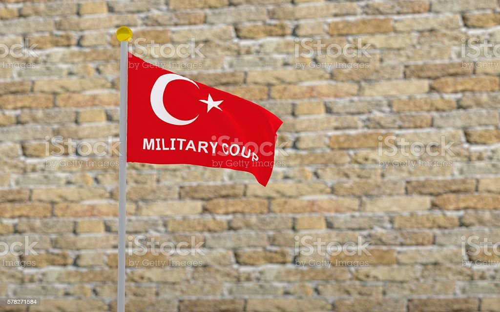Turkey flag and write military coup. stock photo
