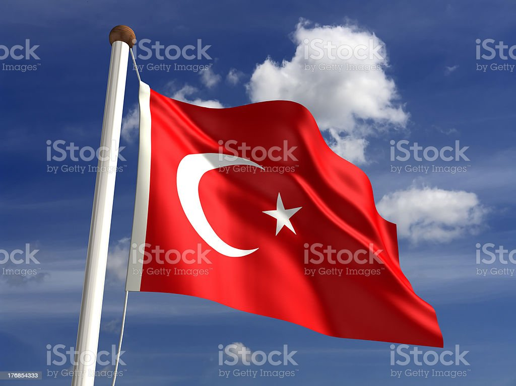 Turkey flag (with clipping path) stock photo