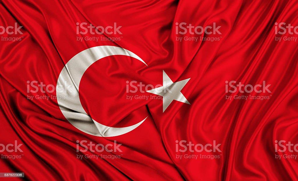 Turkey flag - silk texture stock photo