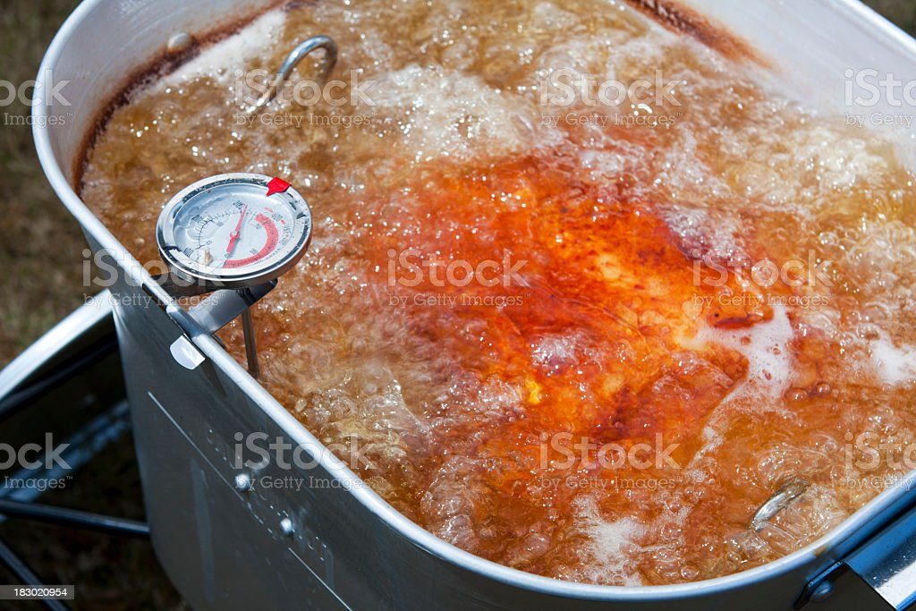 Turkey Frying in an Outdoor Deep Fryer stock photo