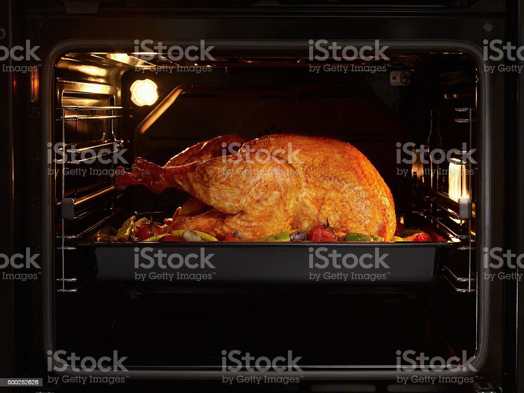 Turkey in oven stock photo