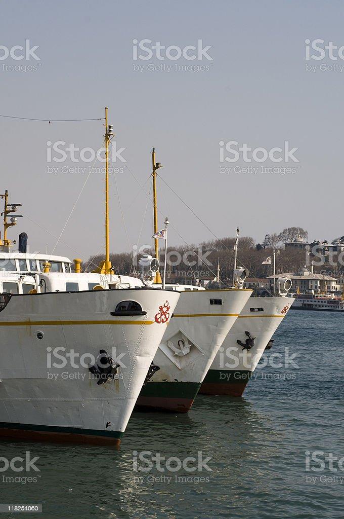 Turkey, Istanbul, Karakoy, Passenger ships docked at a harbor royalty-free stock photo
