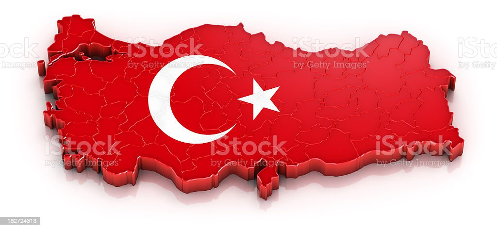 Turkey map with flag stock photo