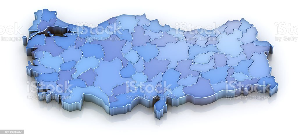 Turkey map with provinces royalty-free stock photo