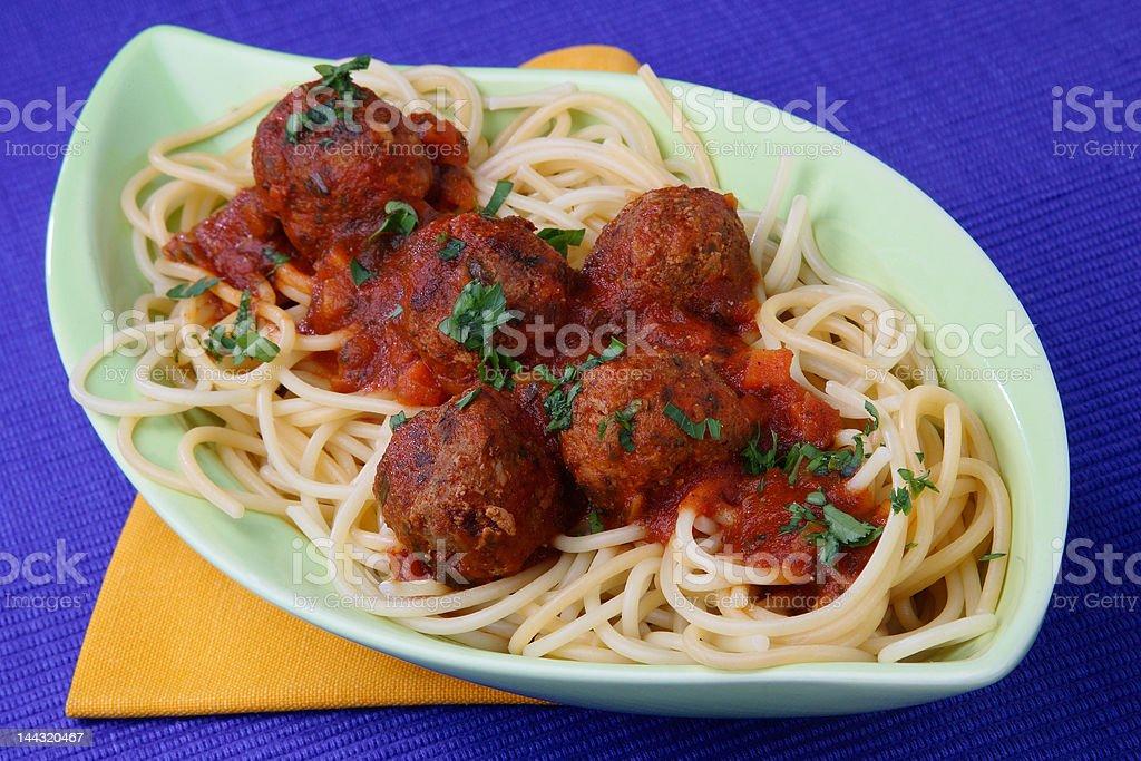 Turkey meat balls with spaghetti royalty-free stock photo