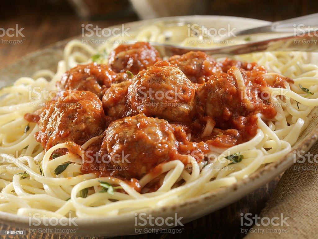 Turkey Meatballs and Spaghetti stock photo