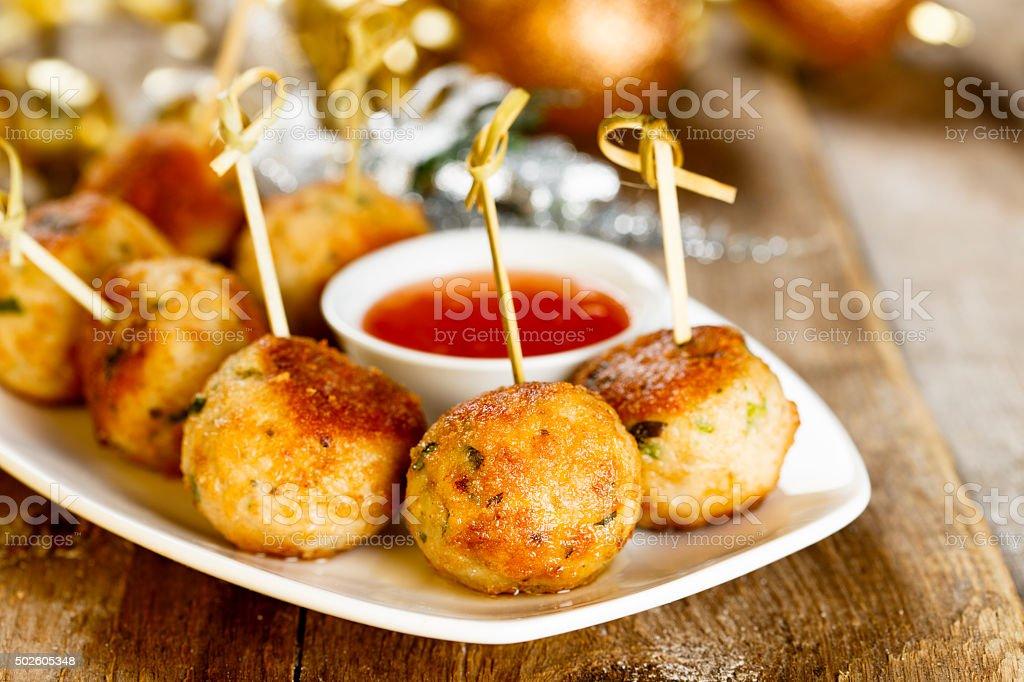 Turkey meatballs stock photo
