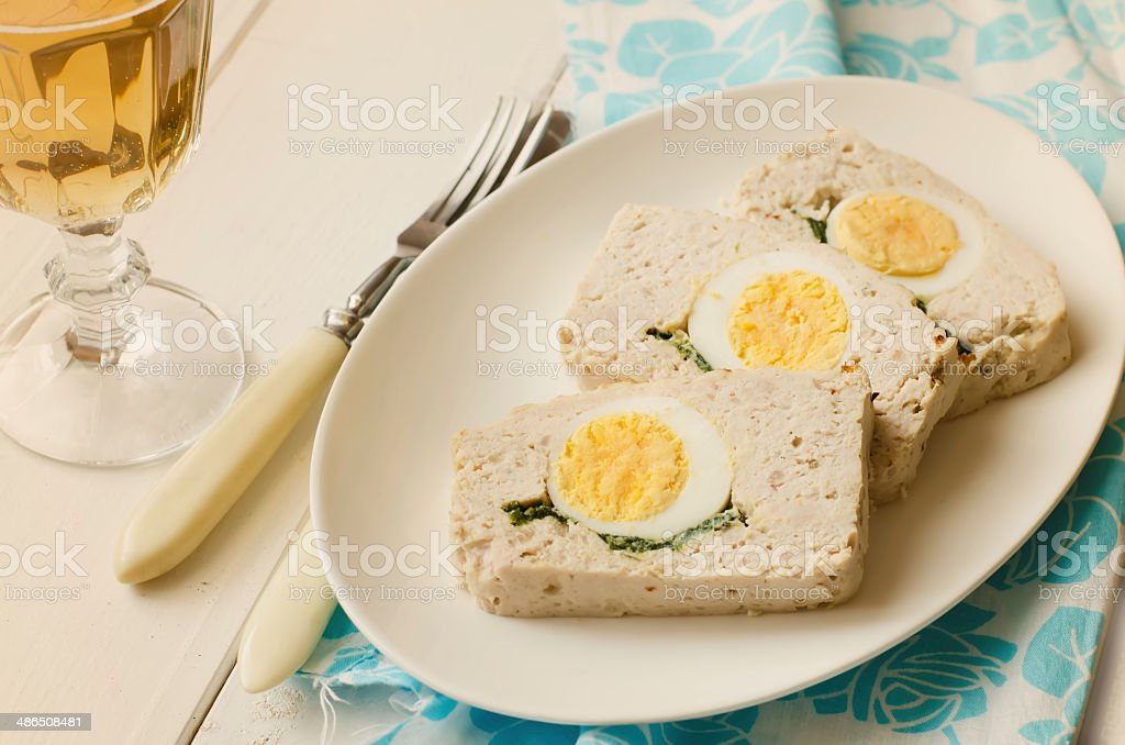 Turkey meatloaf with egg stock photo