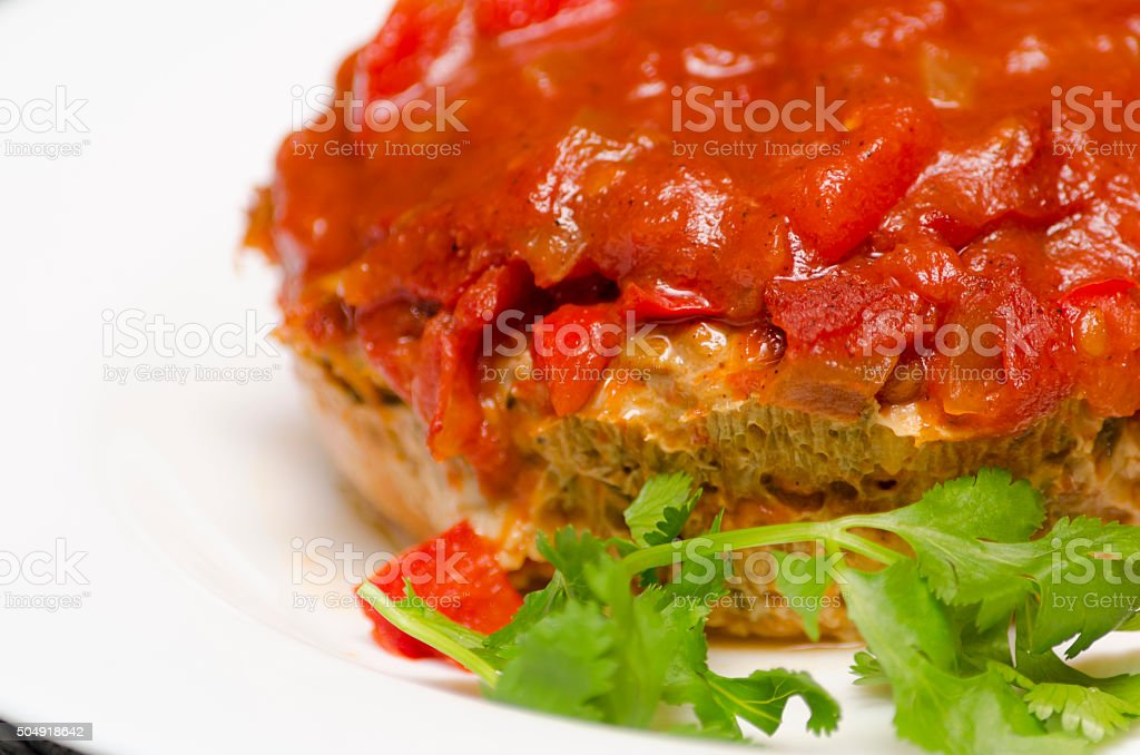 Turkey Meatloaf with Housemade Salsa stock photo