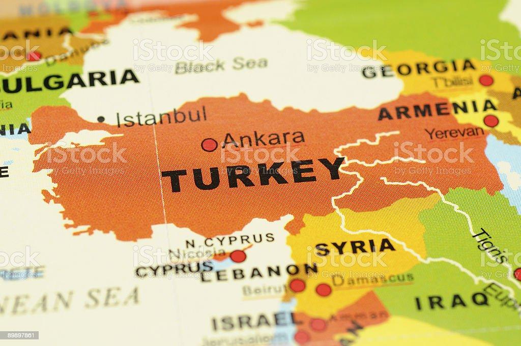 Turkey on map stock photo