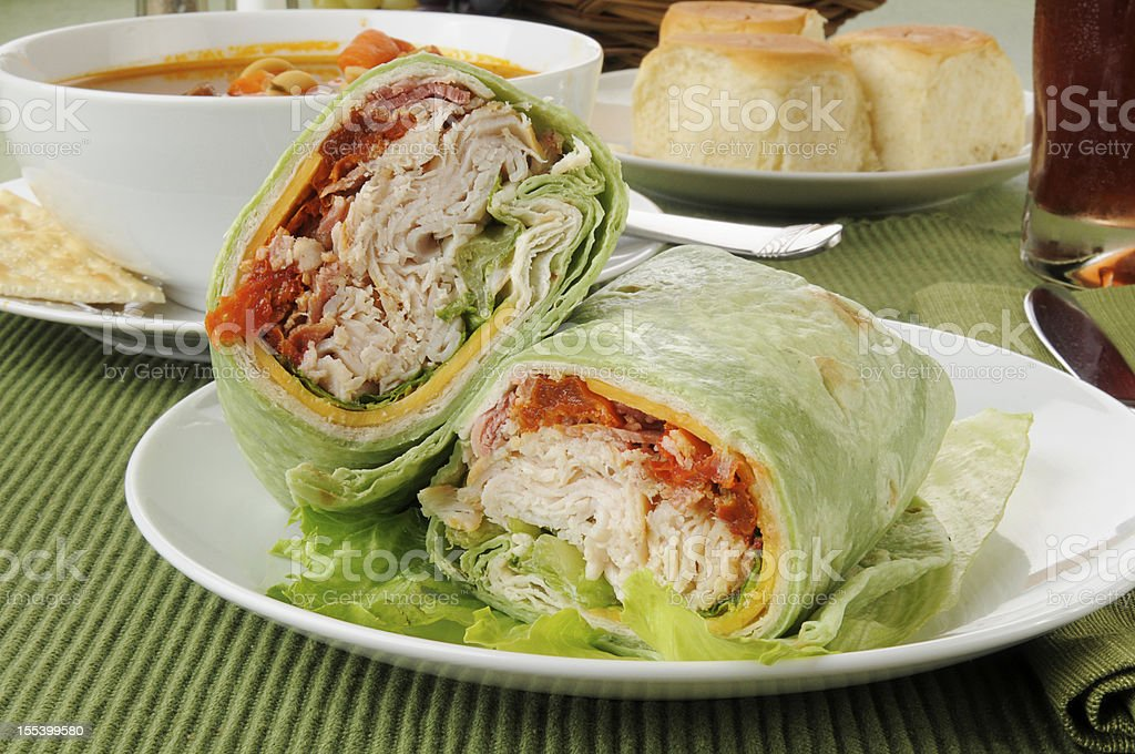 Turkey or chicken wrap with vegetable beef soup royalty-free stock photo