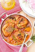 Turkey ossobuco osso buco in tomato gravy with mushrooms