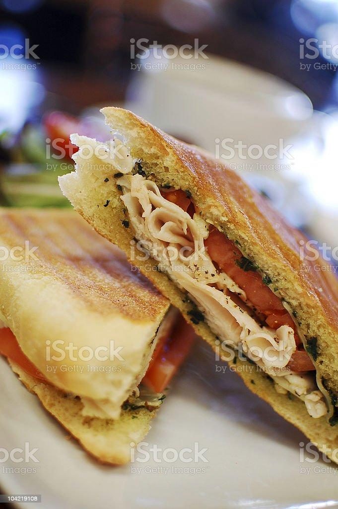 Turkey Pesto Panini sandwich stock photo