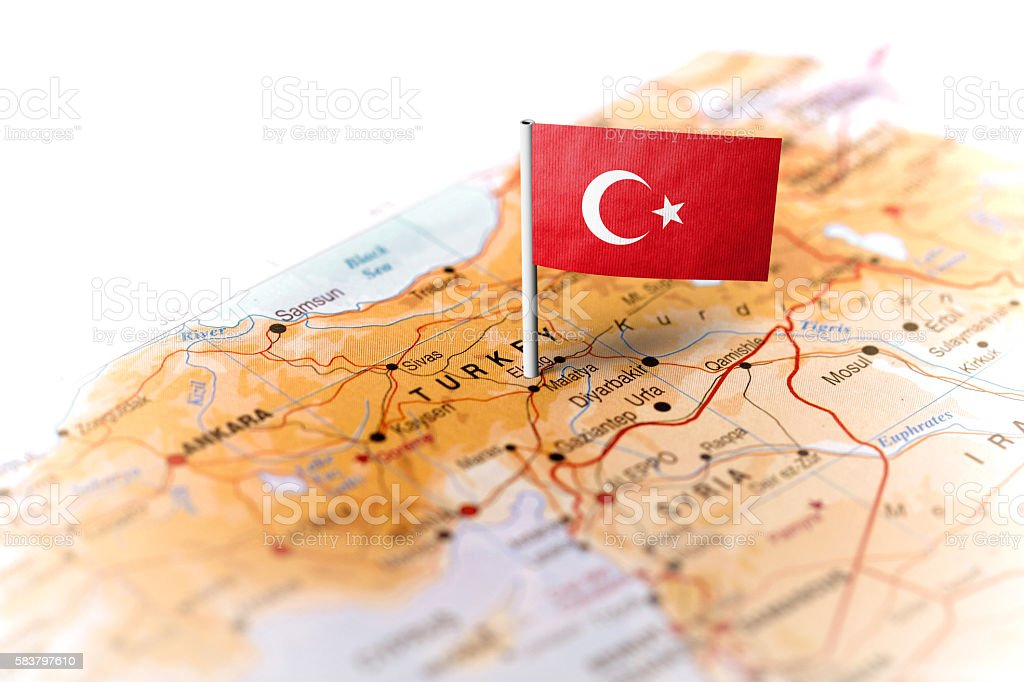 Turkey pinned on the map with flag stock photo
