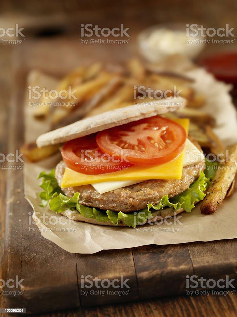 Turkey Pita Burger stock photo