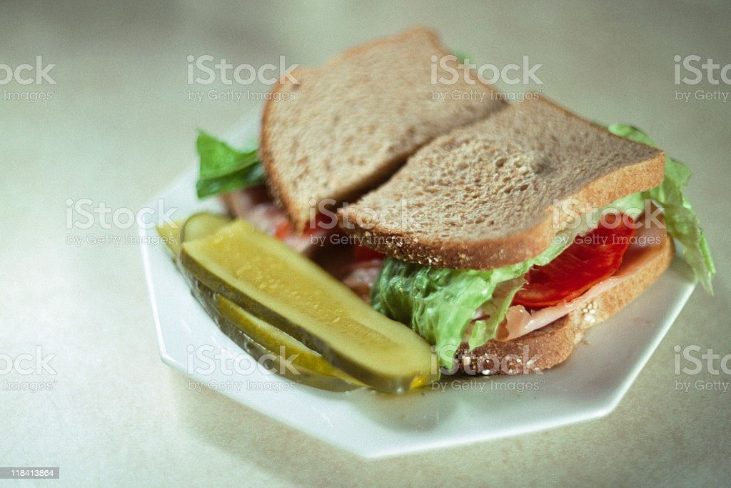 Turkey Sandwich - 1980s Lunch Line Food royalty-free stock photo
