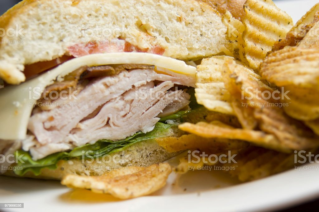 Turkey Sandwich and Chips royalty-free stock photo