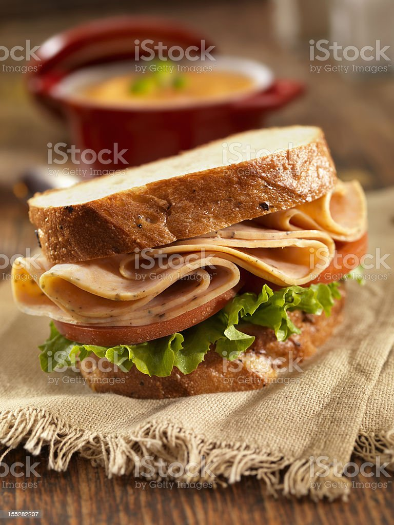Turkey Sandwich and Tomato Soup stock photo