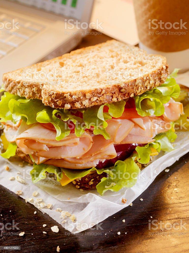 Turkey Sandwich at your Desk stock photo
