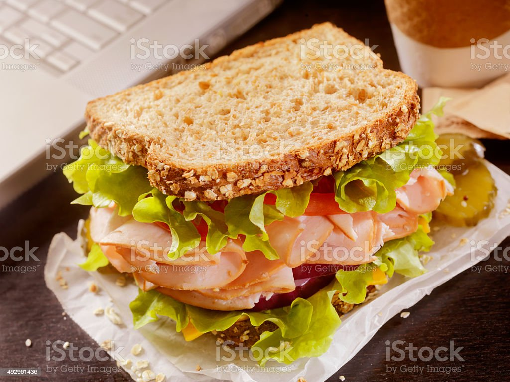 Turkey Sandwich at your Desk stock photo