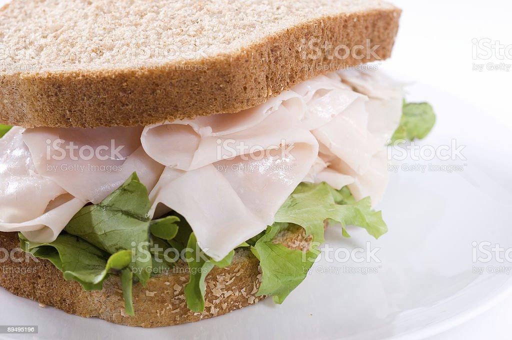 Turkey sandwich close up royalty-free stock photo